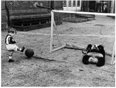 A boy plays football against a baby giant panda at London Zoo, 1939.