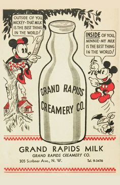 Old school mickey mouse / minnie Mouse / milk Art Print