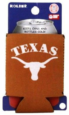 """TEXAS LONGHORNS CAN KADDY KOOZIE COOZIE COOLER by Kolder. $4.99. PRODUCT DESCRIPTION: Kolder Kaddy TM - Kolder's collapsible can insulator is made from 3 mm neoprene """"wetsuit"""" rubber. The Kolder Kaddy fits 12-ounce cans, folds flat to fit in pockets or purses, and is a great beverage insulator to have with you when attending a concert or sporting event. *Fits both cans & bottles *MSRP $5.99"""