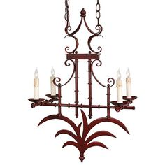 "Mandarin Chandelier  $169.95 $1,110.00  Additional shipping charges apply    QUANTITY:    Details    Evoking the exotic appeal of its namesake, the striking Mandarin Chandelier draws the eye to its handsome silhouette, showcasing elegant scrolling details, a bamboo-inspired frame, flickering candle lights, and a Chinese red finish.        Product: Chandelier      Construction Material: Iron      Finish: Chinese red      Size: 27"" H x 18"" W x 11"" D"