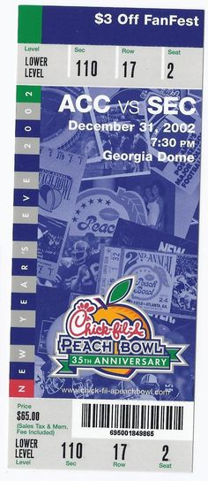 2002 Chick Fil A Peach Bowl Game Full Unused Ticket Maryland Tennessee....if you like this you can find many more college bowl game tickets for sale at.....www.everythingcollectibles.biz