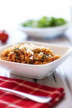 Chicken, Quinoa & Spinach Skillet - Cooking Quinoa use ground turkey or chicken breast