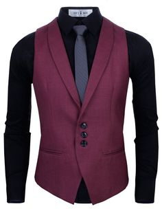 Fabric: 65% rayon 35% polyester Slim Fit Shawl Collar Three-button Closure Vest Woven fabric front with a knit back