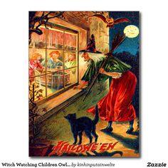 Witch Watching Children Owl Black Cat Postcard
