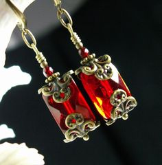 Garnet Ruby Red Crystal Pirate Flask Antiqued Bronze Filigree Earrings Steampunk Jewelry Antique Vintage Victorian Style on Etsy, $30.00