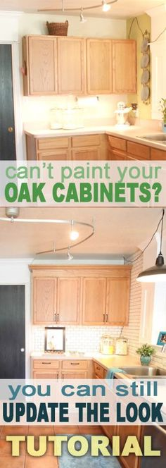 Add crown moulding to basic kitchen cabinets! Love the idea, but I would strip, and stain the cabinets and moulding to match & update further