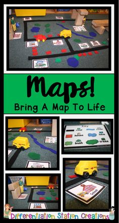 Freebie to help you- Rock your Blocks Center! Just add felt or foam pieces to your block center to create interactive maps. Kids can learn map skills, explore communities and community helpers, and practice a number of math and literacy skills! Preschool Social Studies, Kindergarten Science, Community Helpers Kindergarten, Map Skills, Literacy Skills, Map Activities, Preschool Activities, Play Based Learning, Learning Centers