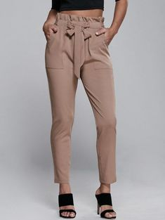 High Waisted Belted Slimming Narrow Feet Pants - Khaki L Casual Pants, Khaki Pants, Casual Outfits, Women's Pants, Work Outfits, Fall Outfits, Harem Pants, Trousers Women, Pants For Women