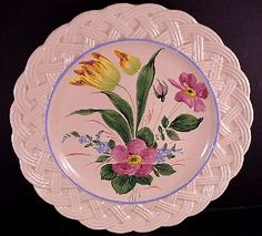 "HTF Nove Basket Weave 9 7/8"" Dia. Floral Plate #364 Made in Italy  EUC $39.99 - ebay"