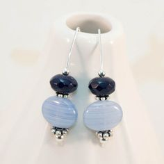 Earrings Blue Glass Sterling Silver Wire Wrapped by JewelrybyChar,