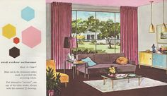 """'Red Color Scheme' from the Mid Century decorating book """"Window Decorating Made Easy by Kirsch"""""""