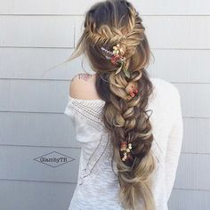Wedding Hairstyles For Long Hair 100 Ridiculously Awesome Braided Hairstyles: Rapunzel Fishtail Braids - Braids are a practical and beautiful addition to any hairstyle. They offer texture, support and style and can be achieved Boho Wedding Hair, Wedding Hairstyles For Long Hair, Braids For Long Hair, Pretty Hairstyles, Bridal Hair, Teenage Hairstyles, Amazing Hairstyles, Braids For Wedding, Braided Wedding Hair