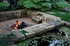Sunken fire pit, sitting area. I  would love to do this in my yard!