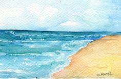 Aruba seascape watercolors paintings original, beach painting, original ocean art, watercolors of Aruba