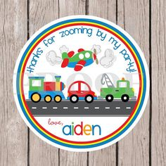 On the Move Birthday Party Favor Tags or Stickers / Transportation-themed / Train, Airplane, Car and Truck / Set of 12 1st Birthday Boy Themes, 3rd Birthday Parties, Birthday Party Invitations, 2nd Birthday, Birthday Ideas, Transportation Birthday, Party Favor Tags, Minnie, Baby Shower