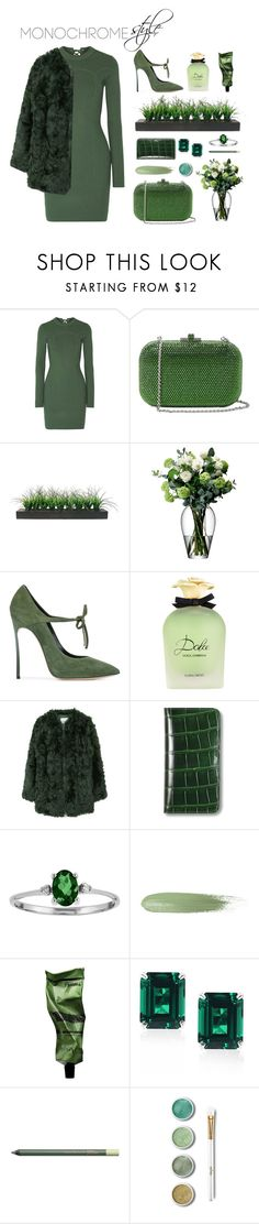 """Monochrome: EverGREEN look"" by martinadlc ❤ liked on Polyvore featuring 3.1 Phillip Lim, Judith Leiber, Vintage, LSA International, Casadei, Dolce&Gabbana, MANGO, Asprey, Aesop and CARAT* London"
