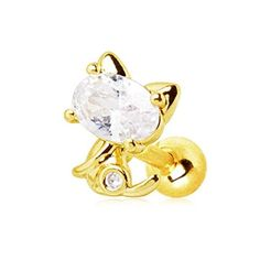 WILDKLASS Gold Plated Jeweled Kitty Cat Cartilage Earring