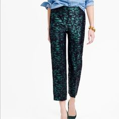 JCrew patio pant in evergreen jacquard Additional pictures J. Crew Pants Ankle & Cropped
