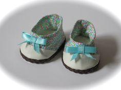 American Girl Doll Shoes  Blue Polka-dot by RainbowLilyDesigns