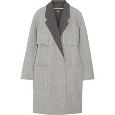 Alexander Wang Reversible wool-blend cocoon coat ($628) ❤ liked on Polyvore featuring outerwear, coats, light gray, heavy coat, cocoon coat, double breasted coat, reversible coat and wool blend double breasted coat