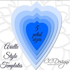 Extra Large Arielle style and leaf paper flower PDF printable templates. This is a Digital File. Convenient instant download! This listing includes: ♥ 5 sizes of Arielle style petals. (Templates make about a 17 inch flower in diameter unless altered.) ♥ 1 PDF leaf template ♥ Basic instructions for building the flower and helpful video tutorial links. ♥If you wish to have more formats compatible with cutting machines (SVGs) please click to visit my shop to view options…