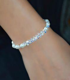 Swarovski Crystal and Pearl Bracelet/Bridal/Weddings/Gifts/Toggle Cute Bracelets, Crystal Bracelets, Pearl Bracelet, Sterling Silver Bracelets, Bangles, Swarovski Jewelry, Swarovski Crystals, Gemstone Jewelry, Beaded Jewelry