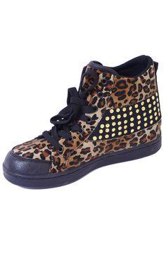 Leopard Print & Black Stud High Top Sneaker Plimsolls   Price: £12.00 http://www.riskyfashions.com/p/Leopard-Print-andamp;-Black-Stud-High-Top-Sneaker-Plimsolls_104.html