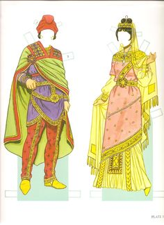 The paper dolls represent Emperor Justinian I (ruled AD 527-565) and Empress Theodora. The costumes cover most of the 1.100-year Byzantine e...