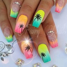 vacation nails funky nail designs Wedding Favors Ideas You Want To Kn Funky Nail Designs, Beach Nail Designs, Tropical Nail Designs, Tropical Nail Art, Sunset Nails, Beach Nails, Beach Nail Art, Funky Nails, Neon Nails