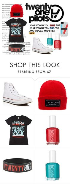 """21 Pilots"" by silentdollface ❤ liked on Polyvore featuring Converse, Essie, Samsung, emo, band and 21pilots"