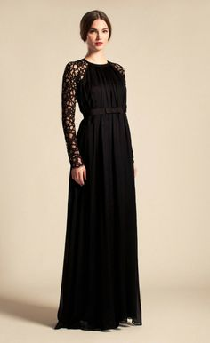 Long Lily Graphic Sleeved Dress
