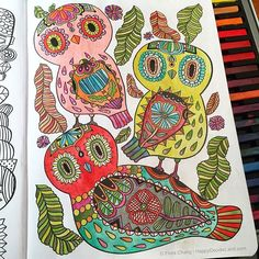 """Finished coloring page from Flora Chang's """"Happy Doodles Posh Coloring Book"""", now available on Amazon. ISBN:  9781449475581"""