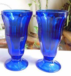 Anchor Hocking Fountainware Cobalt Blue 12 Ounce Soda Tumbler Lot of 2