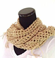 Tan Fringed Mesh Crochet Triangle Scarf by DapperCatDesigns, $20.00