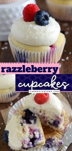 Whip up a batch of this Razzleberry Cupcake recipe for an easy 4th of July dessert! Finished off with fluffy cream cheese frosting, these Raspberry and Blueberry Cupcakes are one of the best you'll… Cupcake Frosting Recipes, Easy Cupcake Recipes, Summer Dessert Recipes, Healthy Dessert Recipes, Easy Desserts, Delicious Desserts, Cupcake Cakes, Yummy Food, Easy Recipes
