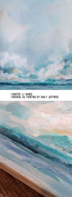 Winter & Winds: Original Oil Painting by Emily Jeffords, painting-a-day Abstract Landscape, Landscape Paintings, Watercolor Paintings, Abstract Canvas, Canvas Artwork, Collage Artwork, Texture Painting, Sky Painting, Painting Videos