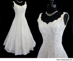 Vintage 50's Antique Off White Full Lace Fluted Scalloped Wedding Dress Gown S