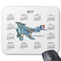 Vintage 2017 Airplane Calendar Mouse Pad Design from Calendars by Janz