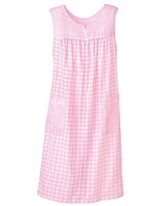 National's cool and comfortable Plisse Gingham Sleeveless Dress features step in zipper and handy patch pockets. Pijamas Women, Nightgown Pattern, Kids Nightwear, Cotton Sleepwear, Nightgowns For Women, House Dress, Lounge, Night Gown, Dress Patterns