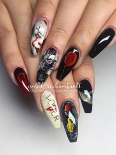 65 Newest And Creative Halloween Nail Art Designs 2019 - Page 11 of 31 - Easy Hairstyles Ongles Gel Halloween, Halloween Acrylic Nails, Best Acrylic Nails, Acrylic Nail Designs, Nail Art Designs, Nails Design, Holloween Nails, Cute Halloween Nails, Halloween Nail Designs