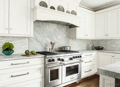 Kitchen Backsplash. Kitchen Slab Backsplash Ideas. Mix of slab stone and tile backsplash. #KitchenBacksplash #KitchenSlabBacksplash Heidi Piron Design.