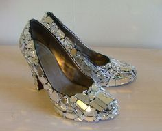 """Silver, Gold, Metallic """"Cracked Twice"""" Mirror shoes"""