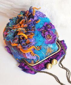 "Felt Handbag ""History of one night"" - purple, floral, lilac, turquoise, orange, violet, flowers"