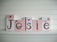 Name Blocks Pottery Barn Kids Bethany . Nursery Name Blocks . Wood Name Blocks . Fox Nursery, Nursery Name, Nursery Decor, Baby Name Blocks, Letter Blocks, Baby Name Signs, Baby Names, Girl Craft, Baby Letters