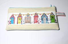 Linen pencil case, with ribbon applique, seaside beach huts, seagulls