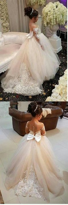 Ball Gown Round Neck Long Sleeves Tulle Bowknot Flower Girl Dress with Appliques - Wedding - Blumen & Pflanzen Ball Dresses, Bridal Dresses, Wedding Gowns, Ball Gowns, Bridesmaid Dresses, Tulle Wedding, Bridesmaids, Trendy Dresses, Nice Dresses