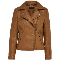 LEATHER LOOK JACKET - Only ($78) ❤ liked on Polyvore featuring outerwear, jackets, tops, brown faux leather jacket, brown jacket, synthetic leather jacket, imitation leather jacket and vegan leather jacket