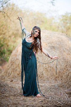 Sale - DIONYSES BOHEMIAN DRESS - Organic Boho Hippie Maxi Long Elegant Prom Wedding Party Couture Burning man gift - Teal Blue Turquoise