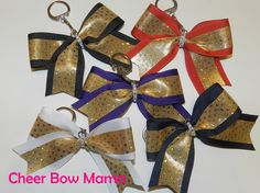 Key Chain Bow w/ Gold Holographic Sequin Stripe by Cheer Bow Mama