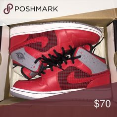 JORDAN 1 Red/ Cement Jordan 1. Used once. In Excellent Condition. Size 7y = 8/8.5 women's Jordan Shoes Sneakers